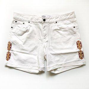 PRANA Shorts White Embroidered Denim Shorts Sz 14
